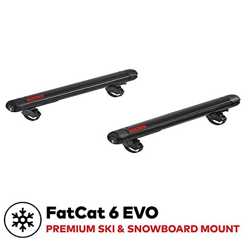 yakima - FatCat 6 EVO Premium Ski & Snowboard Mount, Fits Up to 6 Pairs of Skis or 4 Snowboards, Rides Quietly, Fits Most Roof Racks, Black