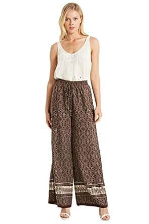Women's Fashion Floral Prints Wide Leg Flare Comfy Palazzo Pants USA BR XS