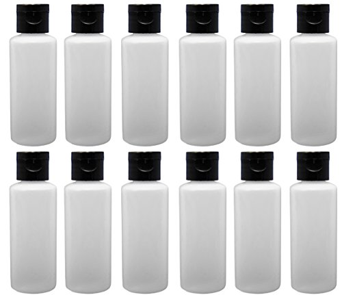 12-2-ounce Travel Bottles with Flip Caps (Black Cap) 2 Ounce Travel Bottle