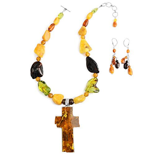 Jewelry to Your Doorstep Baltic Amber Statement Necklace and Matching Amber Earrings Set with Large Cross - Sterling Silver 16