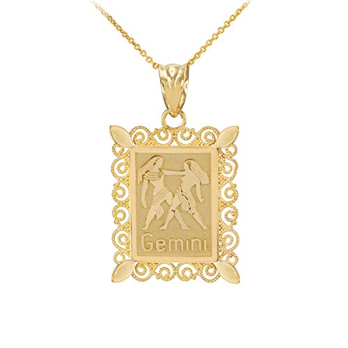 Gold Gemini Zodiac Pendant (Fine 14k Yellow Gold Filigree-Style Rectangular Frame Gemini Zodiac Sign Pendant Necklace, 16