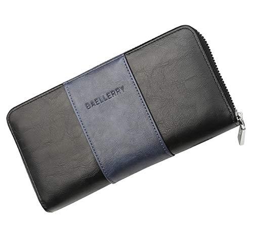 RFID Blocking Two Tone Leather Clutch Bag for Men [ Around Zipper Purse ] 36 Multi Card Slots Long Wallet Phone Organizer (SLR series, TT-Black)
