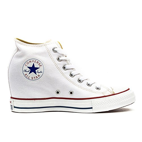 Converse Womens Chuck Taylor Lux Mid White Textile Trainers 6 Women (Chuck Taylor Trainer)
