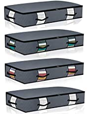 Extra-Large Under Bed Storage Bags[4pack] Washable Cloth Under Bed Storage Containers with Reinforced Handles Strong Zipper Breathable Zippered Organizer for Bedrooms,with Clear Window