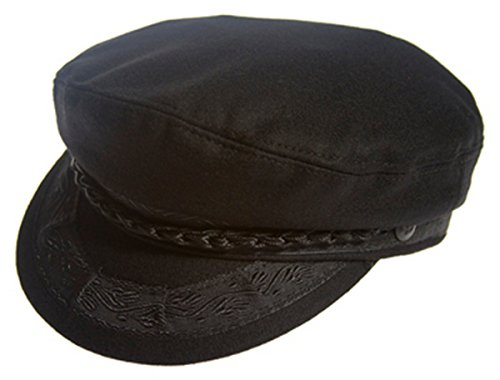 Authentic Greek Fisherman's Cap - Wool - Black - Size 58 - (7 1/4) (Greek Cap Fisherman)