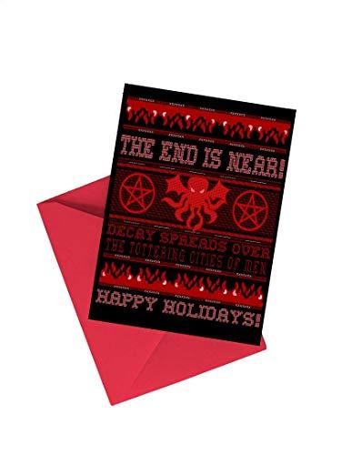 TeeGeniuses Cthulhu Ugly Sweater Christmas Holiday 5x7 Card (Set of Two) (Christmas Cards Cthulhu)