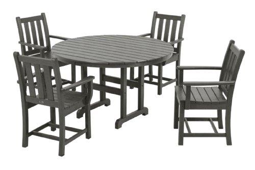 POLYWOOD PWS134-1-GY Traditional Garden 5-Piece Dining Set, Slate Grey