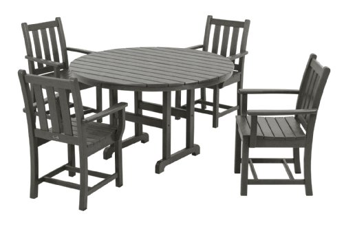 POLYWOOD PWS134-1-GY Traditional Garden 5-Piece Dining Set, Slate Grey
