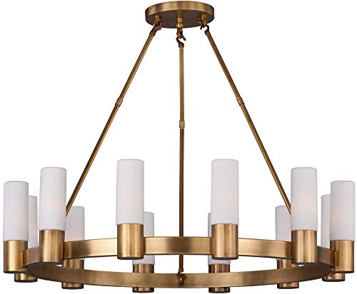 Maxim 22419SWNAB Contessa 12-Light Chandlier, Natural Aged Brass Finish, Satin White Glass, CA Incandescent E12 Incandescent Bulb , 25W Max., Dry Safety Rating, Standard Dimmable, Bubble Glass Shade Material, Rated Lumens (Contessa 12 Light)