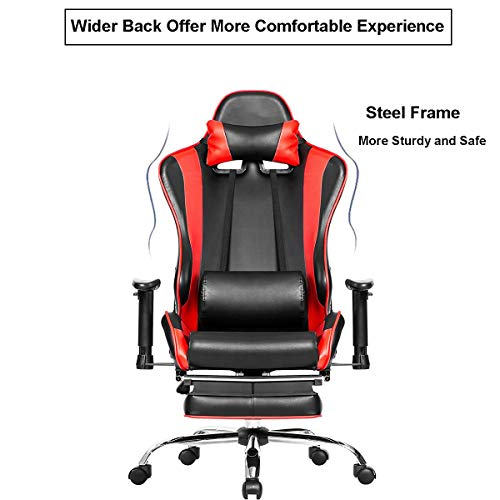 big and tall gaming chair w footrest julyfox high back executive office chair lay flat recline. Black Bedroom Furniture Sets. Home Design Ideas
