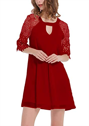 DREAGAL Ladies Elegant Lace atchwork Bell Sleeve Chiffon Cocktail Bridesmaid Dress Wine Red 2XL