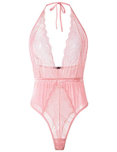 LALAVAVA Lingerie for Women Sexy V Neck One Piece Babydoll Backless Halter Teddy Lace Bodysuit (Pink, S)