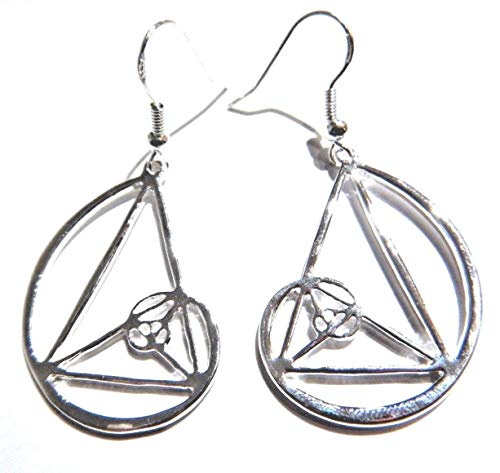 - Fibonacci Spiral Earrings silvertone pendants on French Hooks Sacred Geometry match science Nautilus coil