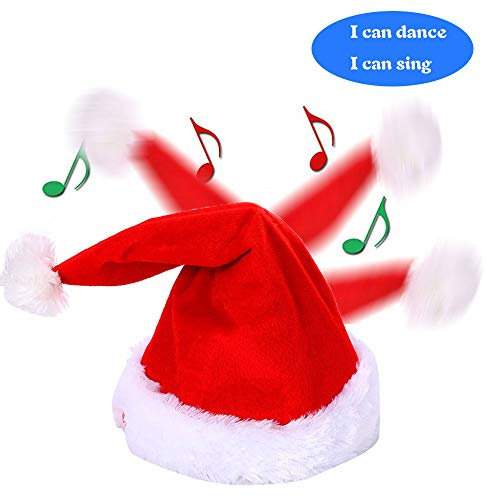 Bestland Plush Toys Musical Dancing Animated Santa Hat Singing Hat Xmas Party for Boy and Girl -
