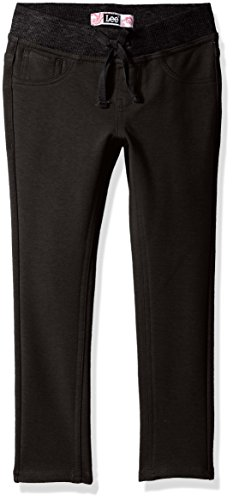LEE Big Girls' Knit Waist Skinny Pull on Pant, Black, 10 by LEE