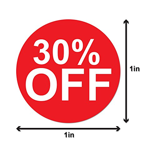 30% Percent Off Sales Labels Self Adhesive Stickers (Red White / 1