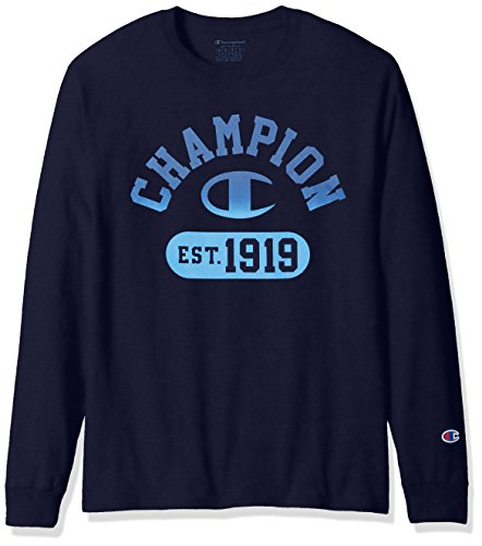Champion Men's Classic Jersey Long Sleeve Graphic T-Shirt, Navy, LG