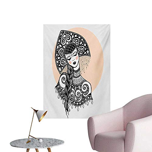 Anzhutwelve Russian Photographic Wallpaper Ethnic Slavic Woman in Folk Clothes Ornamental Moscow Graphic ArtBlack White and Pale Peach W20 xL28 Poster Print