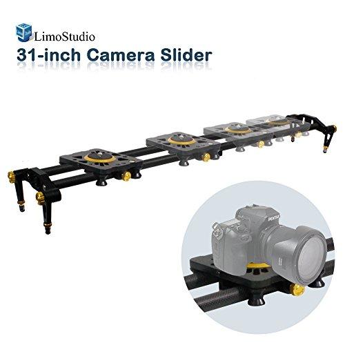 LimoStudio 31-inch DSLR Camera Slider Dolly Track, Video Stabilizer, Carbon Fiber Rail System, High Precision Smooth Bearing Slide with Standard Mount and Spirit Level, Photo Studio, AGG1980 by LimoStudio