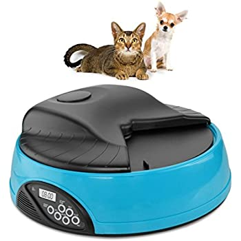 Automatic Pet Feeder for Dogs & Cats , 4 Meal Trays for Dry and Wet Food, Auto Pet Food Dispenser Programmed with Timer and Voice Recording Function, Blue