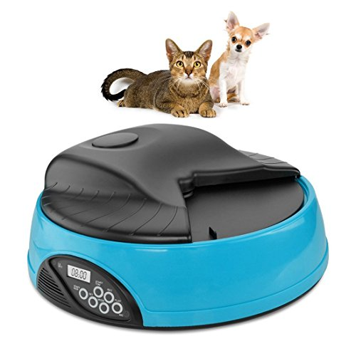 - Automatic Pet Feeder for Dogs & Cats , 4 Meal Trays for Dry and Wet Food, Auto Pet Food Dispenser Programmed with Timer and Voice Recording Function, Blue