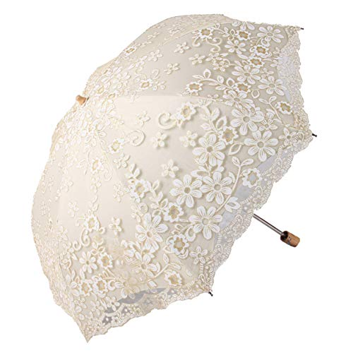 Honeystore Travel Sun Parasol Folding Brolly Anti-uv Sunshade Vintage Umbrella Printed Glitter Design 2 Folding Beige