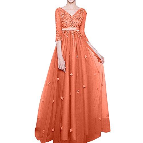 Orange Charmant Abschlussballkleider 4 Langarm Damen Lang A Linie Brautmutterkleider Spitze Abendkleider Promkleider 3 Ballkleider HHzBxwOq