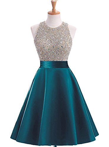 Dress Homecoming Teal (HEIMO Women's Sequins Keyhole Back Homecoming Dress Beading Sequined Prom Gowns Short H210 2 Teal)