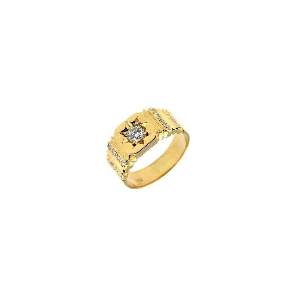 0.81 ct Yellow Gold Diamond Mens Fashion Ring 14 kt Jewelry