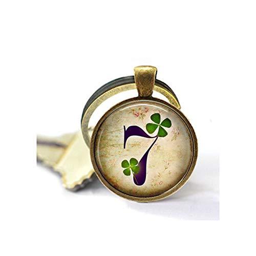 Lucky Number Seven 7 Keychain - Lucky Keychain - Good Luck Charm - Good Luck Keychain - Four Leaf Clover - Lucky Charm Keychain - Lucky - Lucky Seven Keychain
