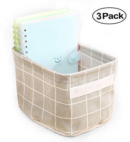 AARainbow 3 Packs Storage Basket Bins Canvas Mini Storage Cubes Storage Basket for Makeup, Baby Toys Liners, Books Nursery Storage Baskets with Handles for Shelves & Desks (3 Gray) ()