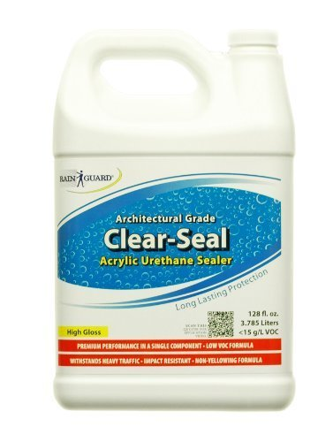 Rainguard Clear-Seal High Gloss Heavy Traffic Urethane/Acrylic Water Sealer & Protective Stain Resistant Concrete, Masonry, Brick, Wood Finish 1 Gal for Use on Driveways, Garages, Walkways, Porches,
