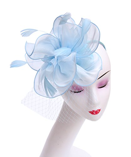 SAFERIN Fascinator Hat Feather Mesh Net Veil Party Hat Flower Derby Hat with Clip and Hairband for Women (TA2-Light Blue) (Hat Light Womens Feather)