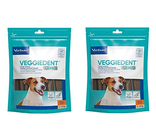 Virbac C.E.T. VEGGIEDENT Tartar Control Chews for Dogs, Small 30 ea (Pack of 2) (Best Dog Teeth Cleaning Products)