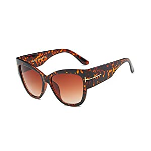 Amomoma Top Fashion Womans Sunglasses Cateye Big Frame UV Protction AM2011 Brown Leopard Frame/Brown Lens