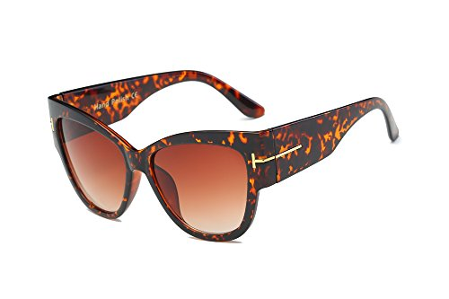 Amomoma Top Fashion Womans Sunglasses Cateye Big Frame UV Protction AM2011 Brown Leopard Frame/Brown - 10 Sunglasses Top For Women