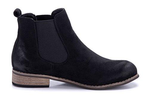 Schuhtempel24 Damen Schuhe Klassische Stiefeletten Stiefel Boots Blockabsatz 3 cm Schwarz