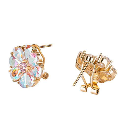 Flower Stud Earrings for Women - 18K Real Gold Plated AAAA Crystal Cubic Zirconia CZ Clip Earrings, Perfect for Daily Wear, Gift for Women Girl