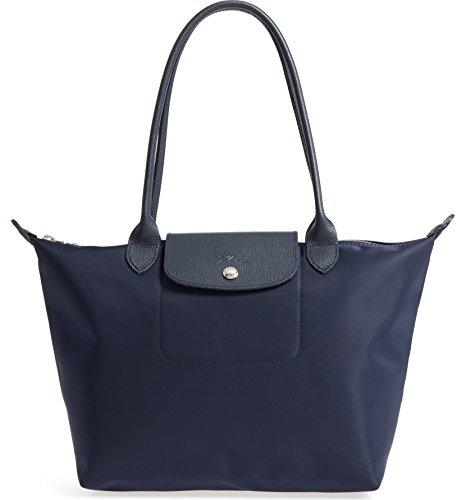 Longchamp 'Medium Le Pliage Neo' Nylon Tote Shoulder Bag, Navy (Longchamp Tote Navy)