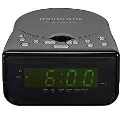 Memorex Top Loading CD Dual Alarm Clock AM/FM Stereo Radio with 0.9-Inch Green LED Display and Universal line-in & Headphone Jack input (Refurbished)