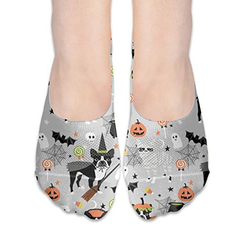 Boston Terrier Halloween Dog Costume, Halloween Dog, Dog Breed, Witch, Pumpkin, Candy, Cute Dog - Grey Cotton Low Cut Socks Non-Slip Grips Casual For Men And Women]()