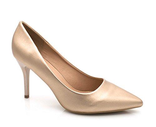 Cérémonie pour Shoes la Champagne et 9cm Très Fashion Mode à Mariage Couleur Femme Talon Escarpin uni et Fin Escarpin Talon Chic Chaussures Escarpin Femme Haut PBBqd6