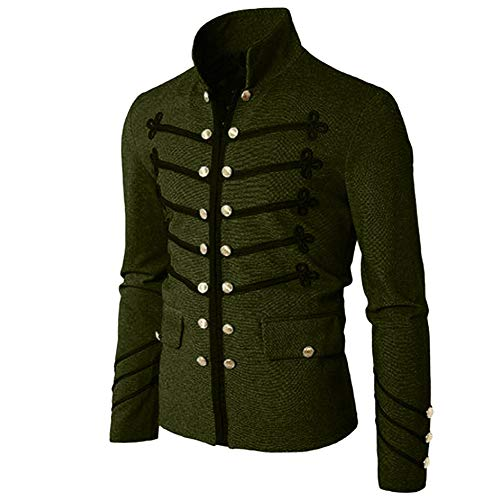 Men Embroider Long Sleeve High Neck Jacket Vintage Gothic Steampunk Victorian Uniform Coat Outwear by Lowprofile Army Green