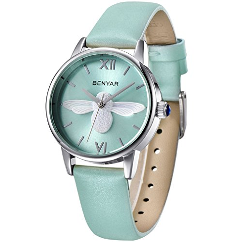 BENYAR Waterproof Cute Bee ladies Watches Leather Strap Business Casual Wrist Watch For Women (Green Silver Green)