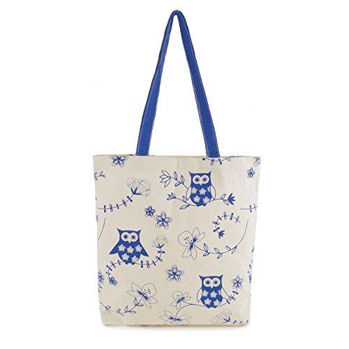 Ladies Summer Floral Birds Print Beach-Pool-Swim-Tote-Shopping Large Bag Blue