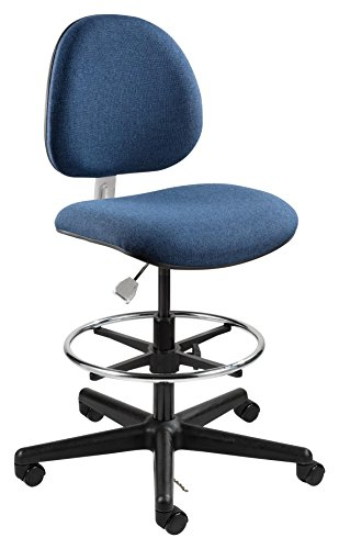 Task Stool, ESD, on Casters with Footring, Conductive Fabric, Plastic Base, Navy -