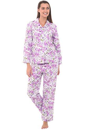 Alexander Del Rossa Womens Cotton Pajamas, Long Woven Pj Set, Medium Purple Floral Flowers, Piping (A0517B78MD)