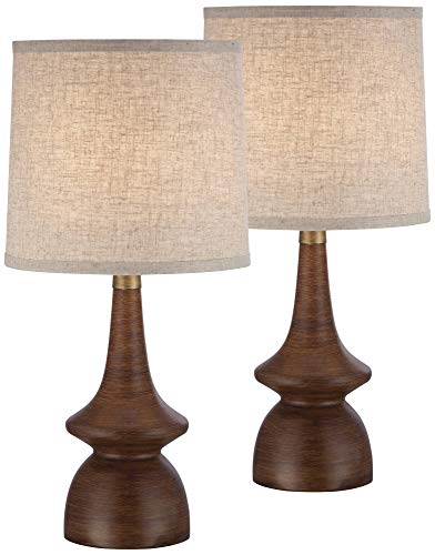 Rexford Mid Century Modern Table Lamps Set of 2 Walnut Wood Off White Drum Shade for Living Room Family Bedroom Bedside - 360 ()