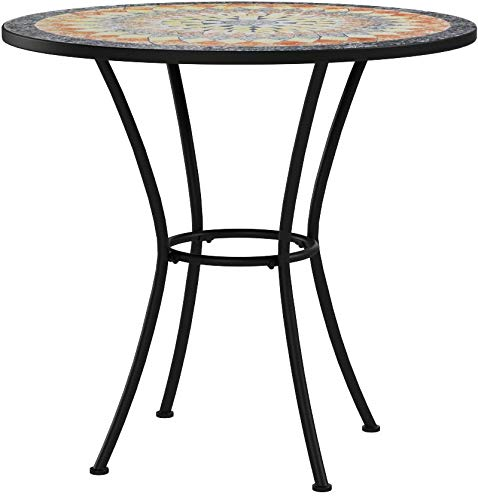 Contemporary Round Outdoor Bistro Table Mosaic Design Table Top With Steel Legs Framed With Black Finish