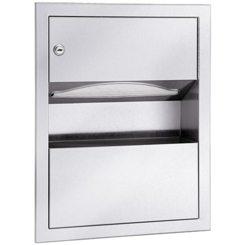 Bradley 229-10 Semi-Recessed Towel Dispenser and Waste Receptacle, 1.